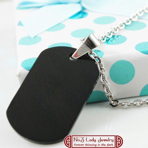 Gokadima Pendant Blank, Fashion Stainless Steel Military Dog Tags Necklace, Black, Laser Logo Engrave Customize, wholesale