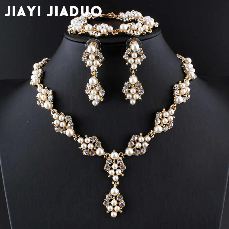 jiayijiaduo Imitation pearl jewelry set 3ps for women bridal gold-color wedding accessories necklace earrings bracelet gift