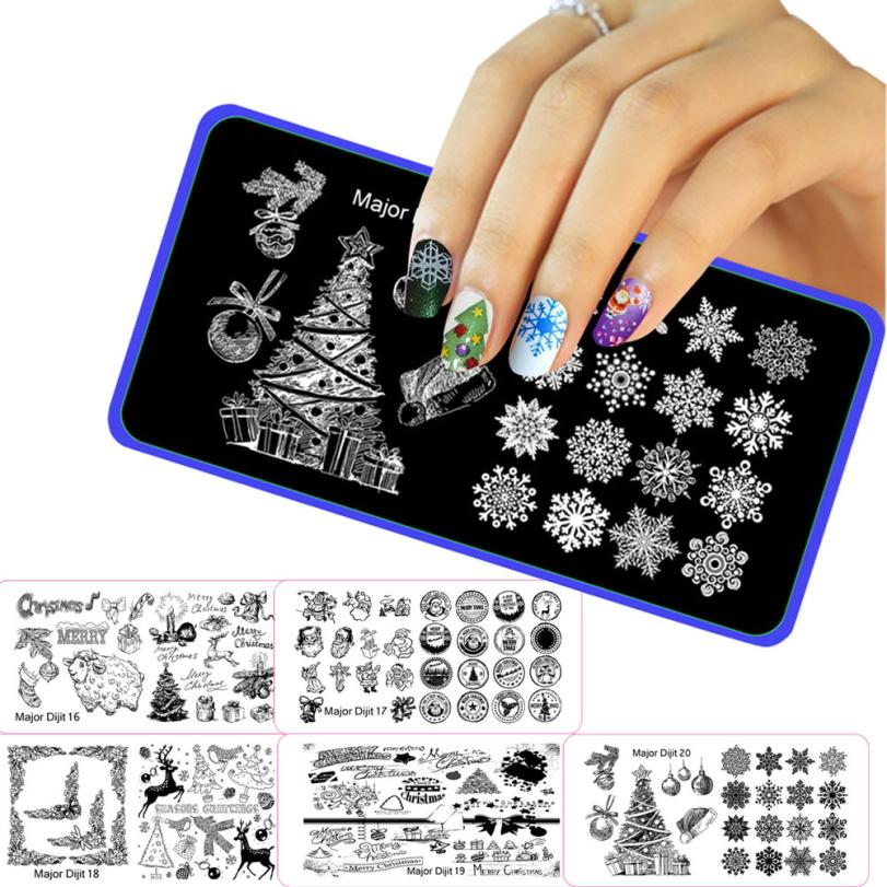New Qualified Christmas Decorative Christmas DIY Nail Art Image Stamp Stamping Plates Manicure Template dig61026