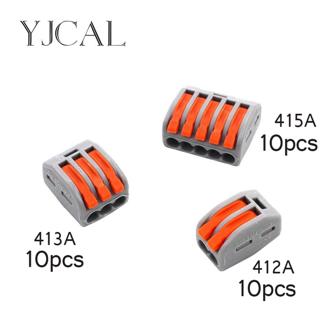 30pcs wago type 222 412 413 415 universal compact wiring conector terminal block connectors. Black Bedroom Furniture Sets. Home Design Ideas