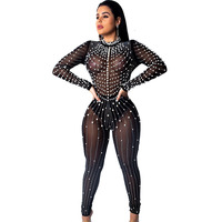 New Women Sequin Diamonds Jumpsuits Sexy See through Long Sleeve Zipper Bodysuits Playsuit 2019 Summer Club Beading Party Outfit