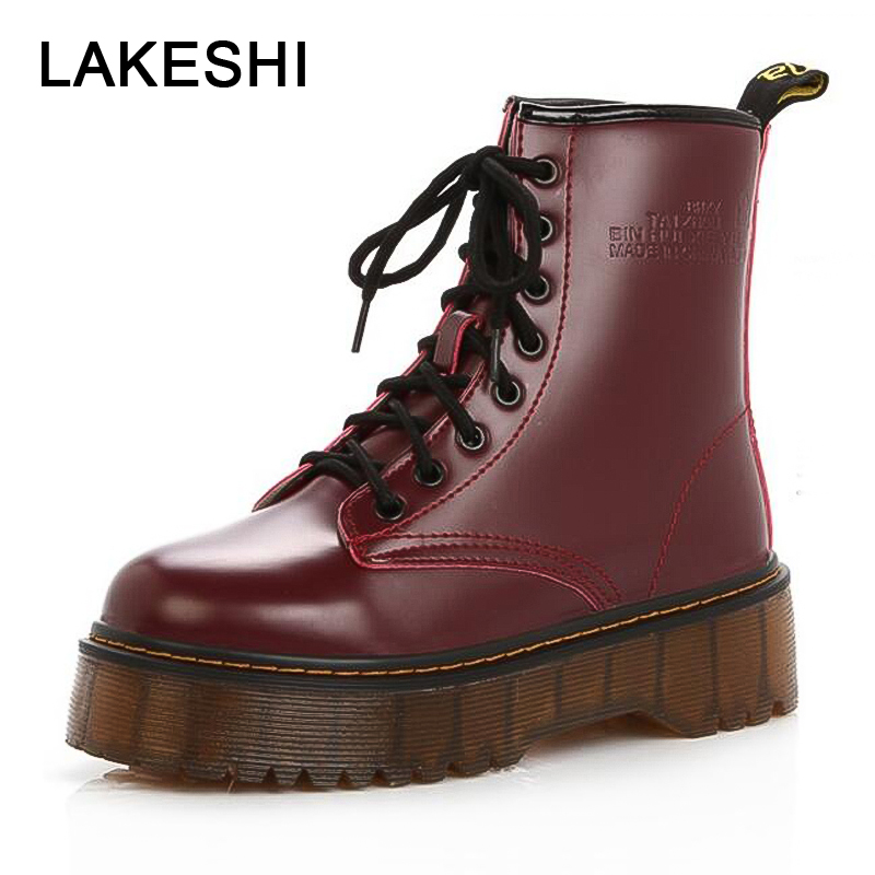 LAKESHI Genuine Leather Punk Women Boots Increase Martin Boots Motorcycle Female Boots Autumn Flat Platform Shoes Women Creepers women martin boots 2017 autumn winter punk style shoes female genuine leather rivet retro black buckle motorcycle ankle booties