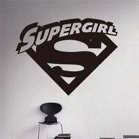 New arrival Supergirl Logo Wall Decal Cartoons Comics Superhero Wall Sticker Cartoons Home Interior Children Nursery Room Decor