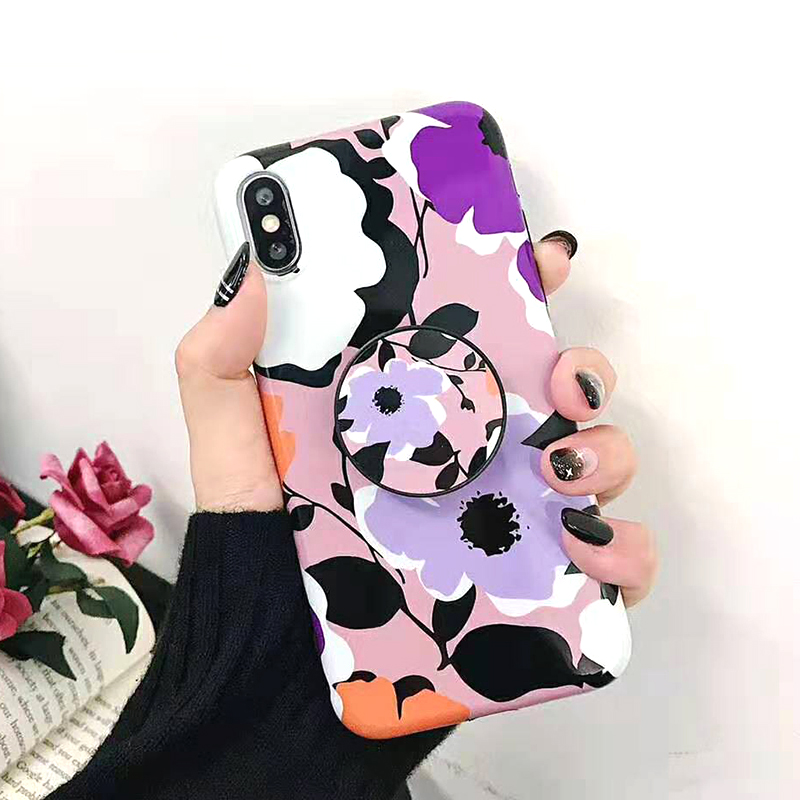 Bracket Case For iPhone XS Max XR X 8 7 6 6S 7 8 Plus Yellow Flowers Glossy Soft IMD Fashion Phone Back Cover Cases Coque Gift (5)