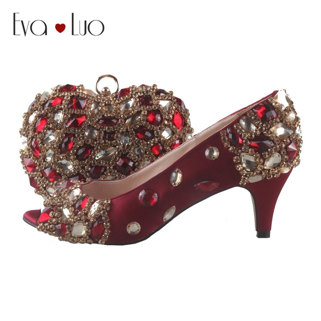 d5bb5c2441d BS775 DHL Custom Made Wine Red Burgundy Crystal Italian Shoes With Matching Bag  Set Low Heel Open Toe Women Shoes Dress Pumps