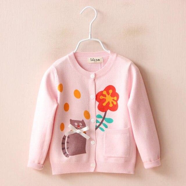 YP1887948 Retail 2016 Spirng Baby Girl Cardigan Imprimir Flor Gato Bolsillo Del O-cuello de La Muchacha Sweatercoat Solo Pecho Sólido Lolita