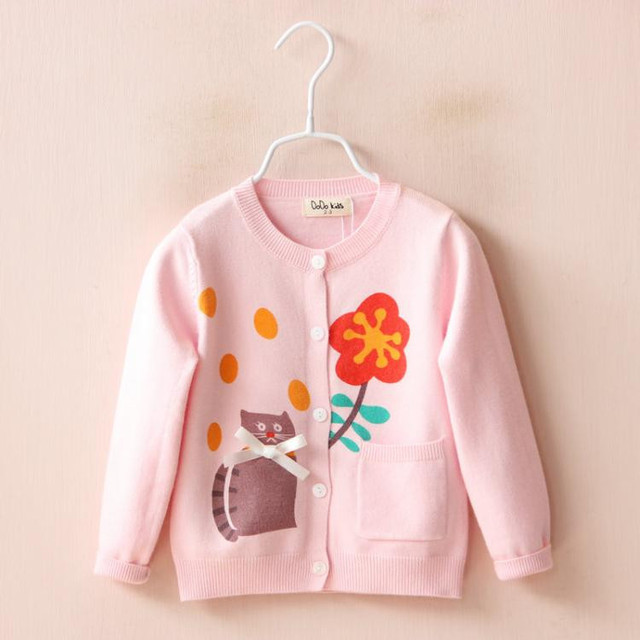 YP1887948 Retail 2016 Spirng Baby Girl Cardigan Print Cat Flower Solid Pocket O-Neck Girl Sweatercoat Single Breasted  Lolita