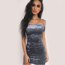 Sexy Off Shoulder Sheath Velvet Mini Dress Slash Neck Strapless Women Party Short Sleeve Elegant Pencil Bodycon Dress Vestidos(China)