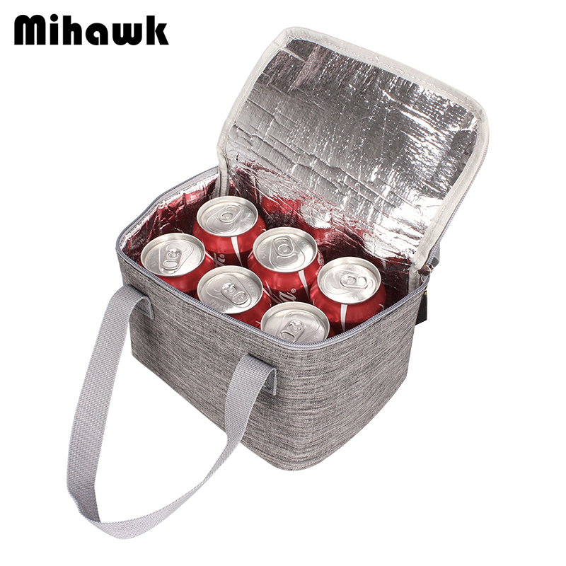 купить Mihawk Solid Thermal Insulated Cooler Bags Extra Large Picnic Lunch Bag Box Trips BBQ Ice Zip Pack Accessories Supplies Products онлайн