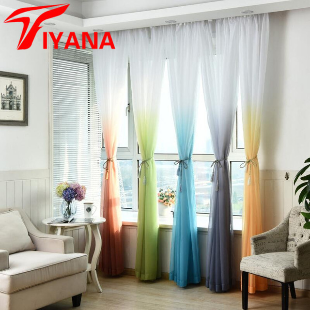 Gradiente blanco ventana Cortinas Decoración para el hogar tulle ...