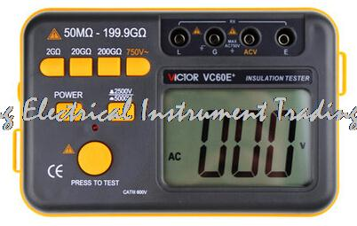 4-8 days arrival Victor VC60E+ Digital Insulation Resistance Tester Megger MegOhm Meter DC/AC 50M ohm-199.9G ohm