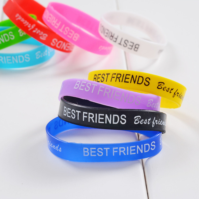 Whole Mix Colors Trendy Silicone Rubber Wristband Wrist Band Cuff Bracelet Bangles For Best Friend