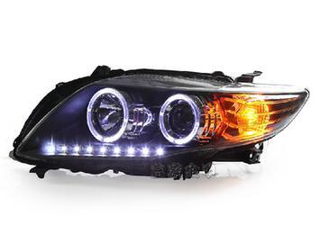 2pcs Tuning Cars Head Lamp For Corolla 2007~2010year Headlights LED DRL Running Lights Bi-Xenon Beam Fog Lights Angel Eyes