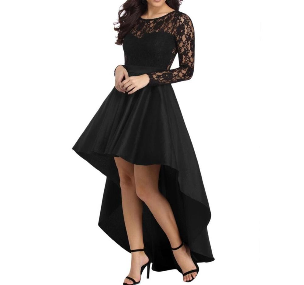 Black Lace Top High Low   Prom     Dresses   With Long Sleeves O-Neck Formal Party Gowns Cheap Graduation Homecoming   Dress   Bridesmaid
