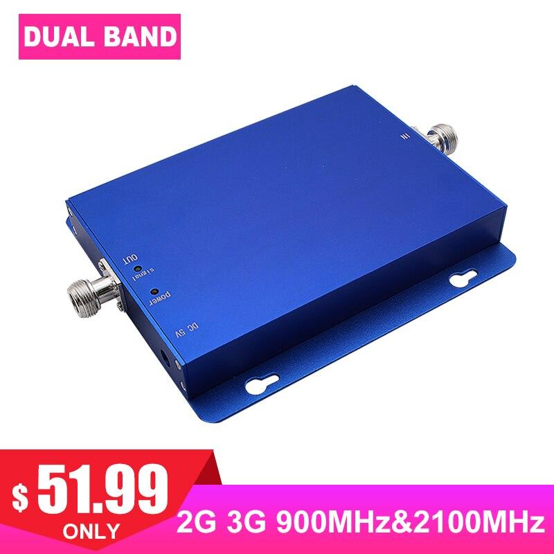 Amplificateur de Signal cellulaire GSM 900 MHz 2100 MHz 2G 3G Band1 WCDMA FDD Internet 65dB amplificateur de Signal de Communication de téléphone portable-