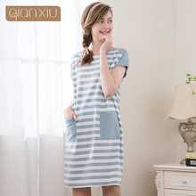 Qianxiu Lovely Sleepwear For Girl Summer Model Set Pockets Stripe Fashion For Women Set(China)