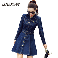 QAZXSW Women's Denim Dresses 2018 Spring New Fashion Korean Style Retro Long Sleeves Solid Color Slim Female Denim Dres YC369