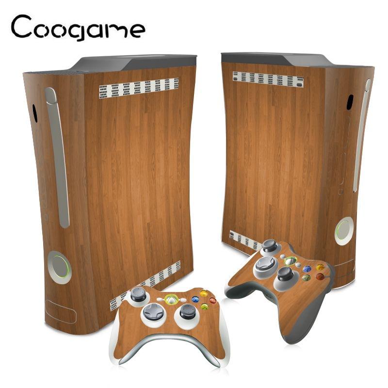 Hot !! Wooden PVC Accessories For Xbox 360 Fat Remote Skins Sticker For Microsoft Xbox360 Fat Controller
