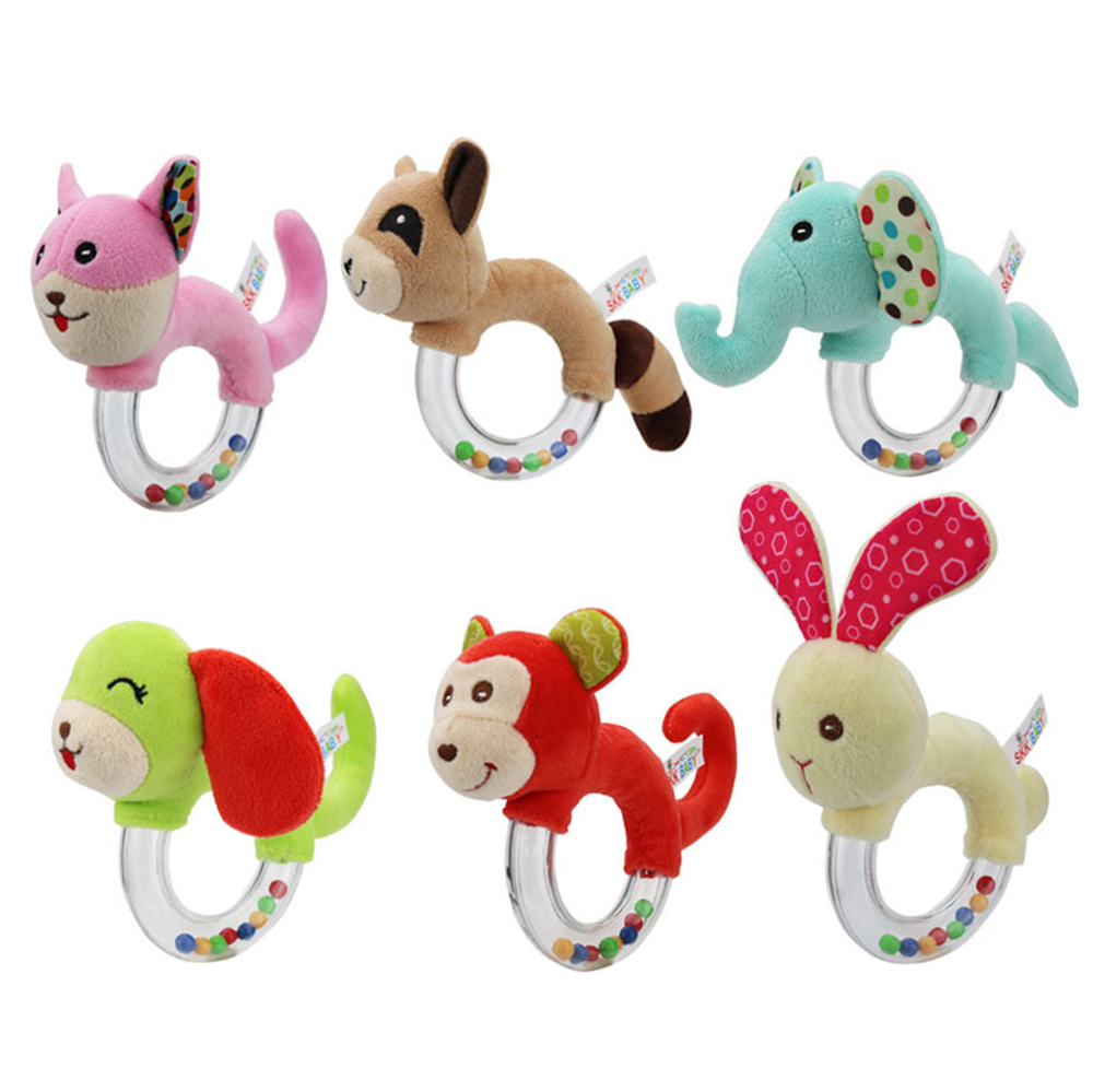 Baby Toys 0-12 Months Animal Shape Baby Rattle Hand Bells Cute Pig Horse Elephant Monkey Early Education Toys For Newborns
