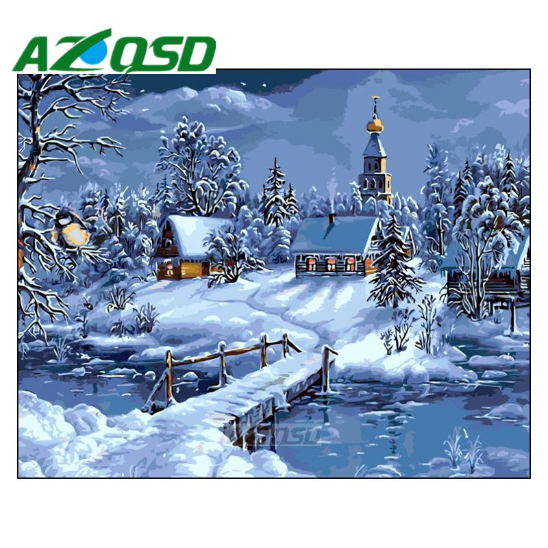 AZQSD Painting By Numbers Framed 40x50cm Winter Snow Village Oil Painting Picture By numbers On Canvas Home Decor szyh201