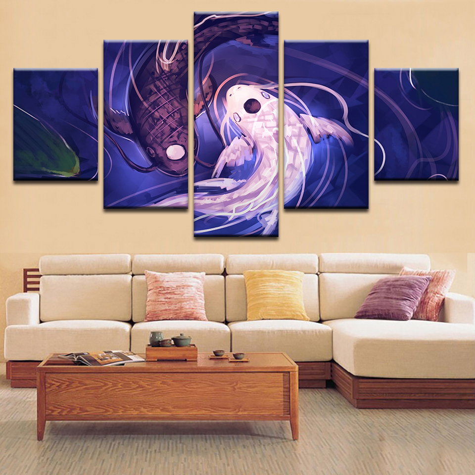 Modern Painting On Canvas Wall Art Pictures Fish Koi Yin Yang Home Decoration Posters Framework Living Room HD Printed