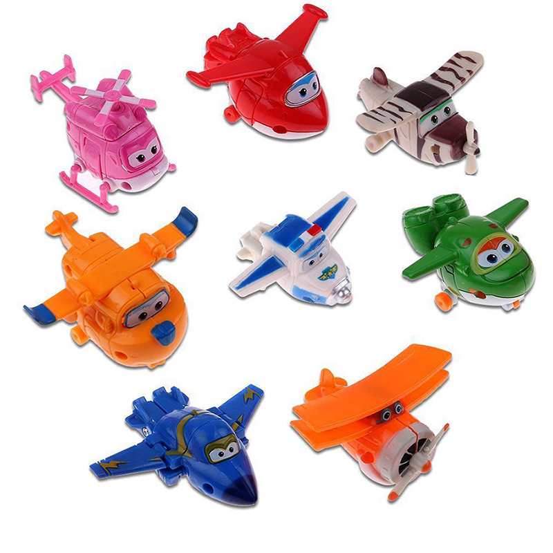 цены 8pcs/set MINI Airplane Anime Super Wings Model toy Transformation Robot Action Figures superwings toys for Children Kids
