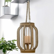 PINNY American Country Net Surface Iron Candlestick Fiberboard Vintage Candle Holders Decorative Cages Moroccan Lanterns
