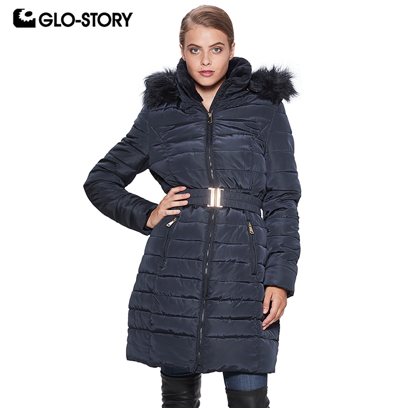 GLO-STORY 2018 Winter Women's Long Warm   Parkas   Coats with Fur Hooded Adjustable Waist Winter Coats for Female WMA-6699