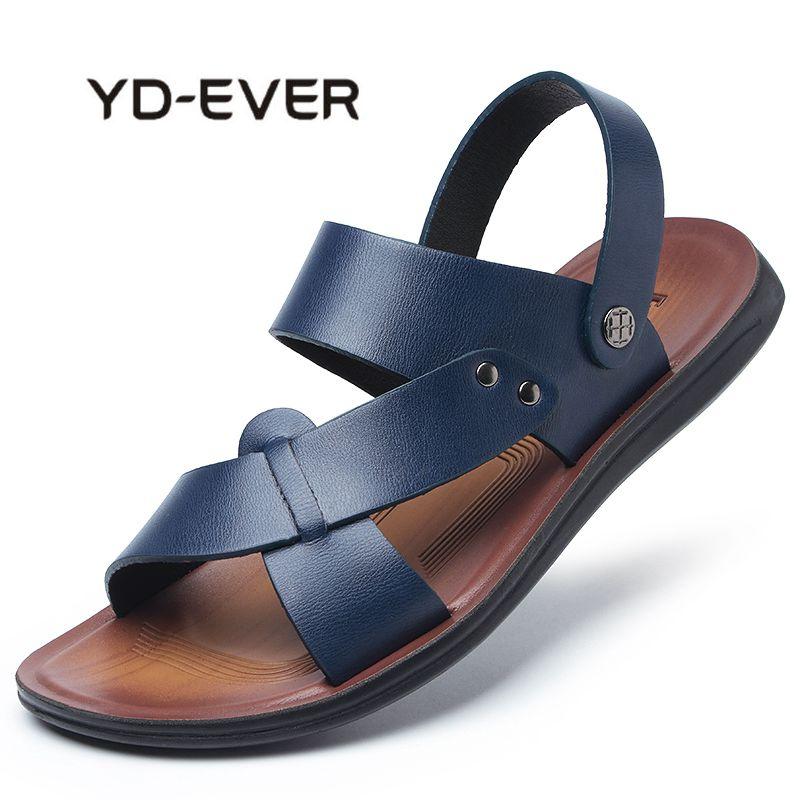 YD-EVER 2018 Ubique Men Beach Sandals Sneakers Genuine Leather Men Slippers Flip Flops Men Casual Shoes Summer Men Sandals