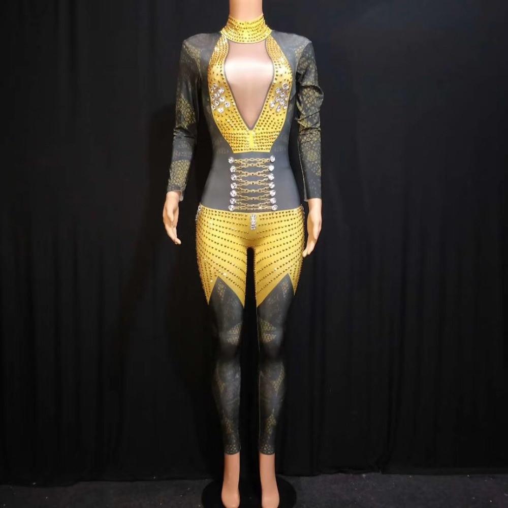 Femmes strass body scène tenue femme chanteuse noir jaune Leggings discothèque cristaux Costume danse combinaison DJ1003