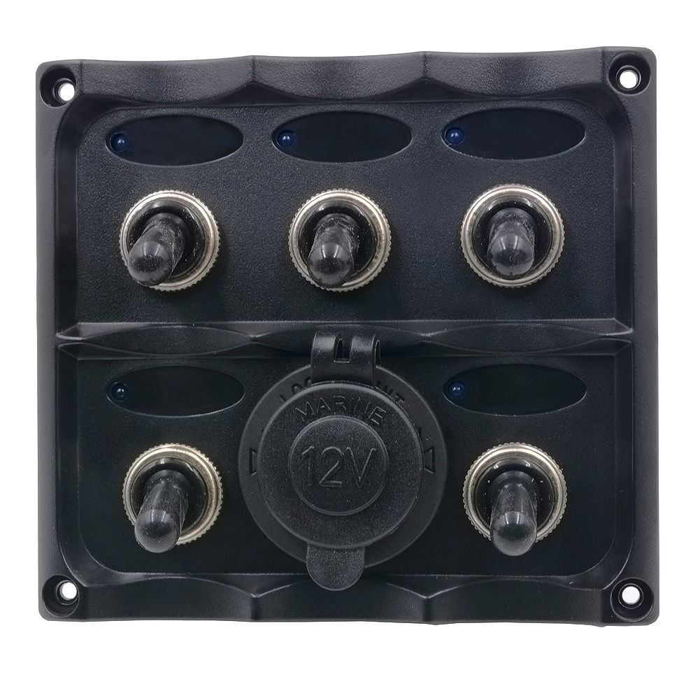 Marine Switch Panel 6 Gang Splashproof Toggle LED Back Indicator Light 12/24 Volt 6 Gang Switch Panel