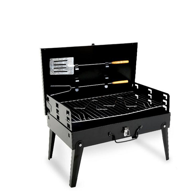New small black steel outdoor portable folding grill home charcoal carbon oven BBQ