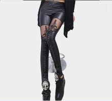 Sex Ladies Slim Stretch Leather Pants Women Faux Leather Patchwork With Gauze Lace Floral Leggings Female Skinny Trousers/Capris