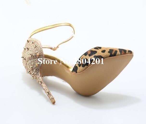 Léopard Pointu Cristal Parti Chaussures Imprimé Hauts Pompes Boucles Femmes Sexy Bout Talons Rousmery Bling Rivet Robe Patchwork Stylet 4q5RRw
