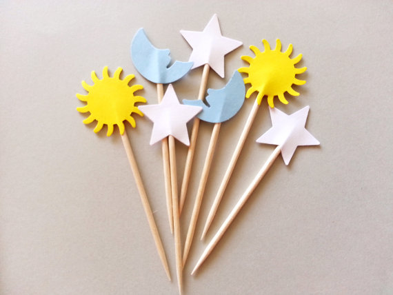 sun moon stars cupcake toppers birthday wedding food picks bridal shower bachelorette cocktail. Black Bedroom Furniture Sets. Home Design Ideas