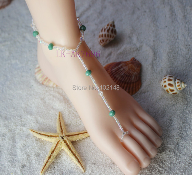 sexy artificial crystal foot jewelry barefoot sandals pool yoga