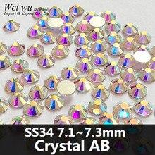 144pcs Glass Material Glue Fixed Flatback SS34 Crystal AB Golden Light Nail Art Rhinestones