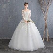 بسيط انظر من خلال الدانتيل كم طويل فستان الزفاف 2019 الكرة ثوب فساتين الزفاف الصين رخيصة زي العرائس المحرز في الصين