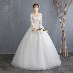 Image 1 - Simple See Through Lace Long Sleeve Wedding Dress 2019 Ball Gown Wedding Dresses China Cheap Bridal Gowns Made In China