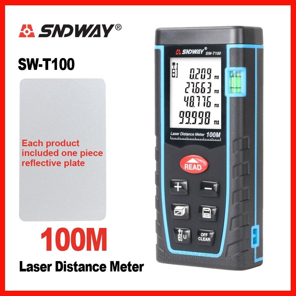 Medidor de distancia láser SNDWAY telémetro 40 m 60 M 80 m 100 M cinta M electrónica Trena regla probador manual Dispositivo de construcción