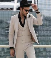 Модные цвета хаки Для мужчин костюмы Slim Fit Свадебные костюмы для мужчин смокинг для жениха Smart Бизнес Выходные туфли на выпускной бал BlazerTerno