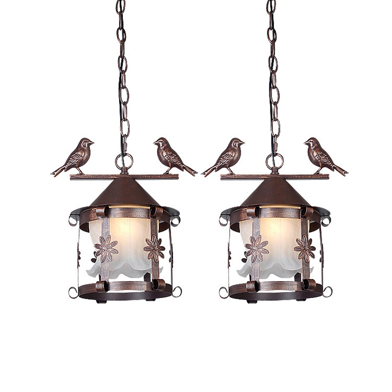 Vintage europeo de cristal de Metal pájaro jaula colgante luz país rústico bronce negro blanco balcón pasillo restaurante lámpara colgante