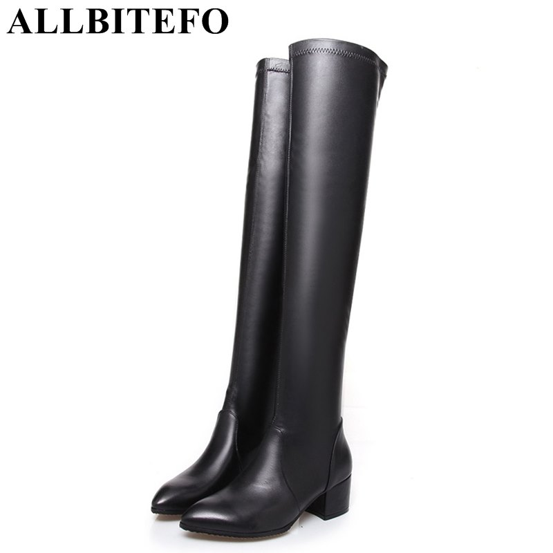 ALLBITEFO genuine leather+Stretch material pointed toe thick heel women boots fashion brand medium heel over the knee boots fashion slim rivets thick heel pointed toe zip winter snow boots genuine leather stretch fabric over the knee boots women boots