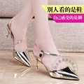 Bright Golden Leisure Stiletto Heels Glossy Charm Club Glitter Shoes Ankle Strap Heels Pure Color Concise Slingbacks Stilettos