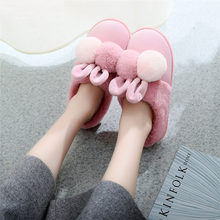 HOT 2019 New Style Lovely Rabbit Ears Soft Home Slippers Cotton Warm Winter Shoes Woman Flip Flops Casual Indoor Slippers(China)