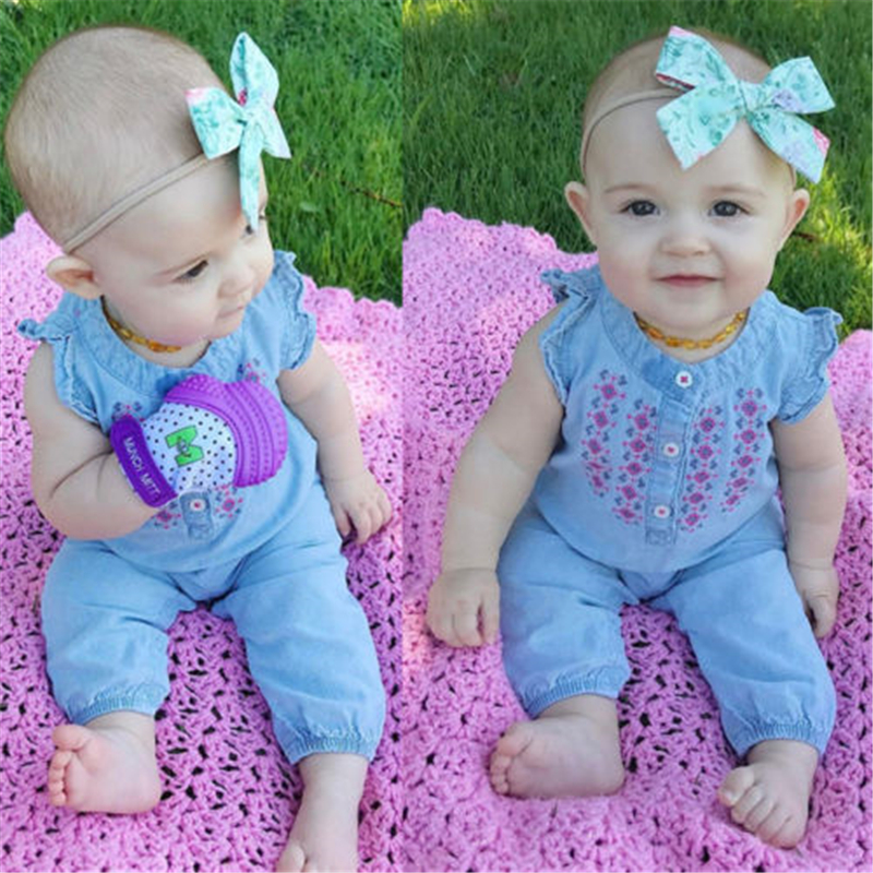 Embroidered Newborn Baby Girl Denim   Romper   Ruffles Sleeve Soft Jeans Infant Kids Jumpsuit Outfits Sunsuit Clothes