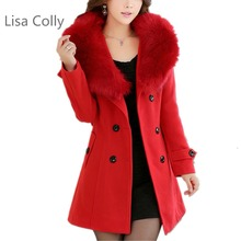 Lisa Colly Plus 5xl Spring Autumn Women's Fashion Fur collar double-breasted Overcoat Coats high-qua