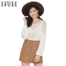 цена на HYH HAOYIHUI White Cut Out Basic Pullover O-neck Long Sleeve Loose Women Jumper Elegant Street Style Ladies Sweater