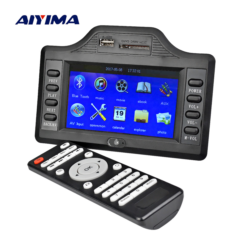 AIYIMA Subwoofer Bluetooth Amplifier Board 50W*2+100W 4.3 Inch LCD Bluetooth Receiver Auido Decoder MP4 MP5 Video Decoding DC12V