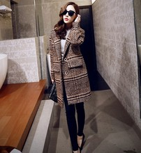 2016 Women New Clothing Design Striped Elegant Office Ladies Fashion Winter Outwear Quality Thick Slim Wool Coats Jacket Trench